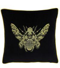 Samt-Kissenhülle in schwarz mit aufgesticktem Bienen-Motiv in gold