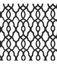 Tapete mit kleinem Trellis-Muster, Vliestapete mit marokkanischem Muster, schwarz & weiß
