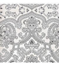Tapete mit orientalischem Muster, reflektierende Vliestapete schwarz & weiß