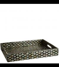 Tablett mit geometrischem Muster in schwarz & Perlmutt