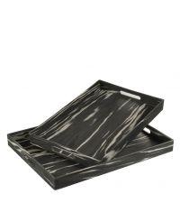 Set aus zwei schwarzen Tabletts mit weißer Musterung