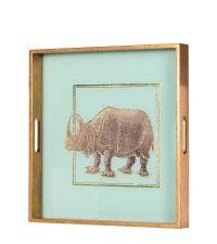 quadratisches Tablett mit Rhino-Print, gold