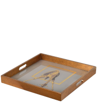 quadratisches Tablett mit Giraffen-Print, gold