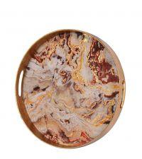 rundes Tablett in Marmor-Optik, bronze
