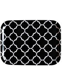 schwarzes Tablett mit weißem Trellis-Muster