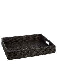 elegantes Tablett aus schwarzem Rattan