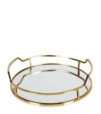 elegantes, rundes Tablett mit goldenem Rahmen und Spiegelfläche