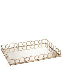 rechteckiges, goldenes Tablett mit Spiegelfläche und geometrischem Rahmen