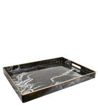 rechteckiges, schwarzes Tablett in Marmor-Optik mit goldener Verzierung und Handgriffen