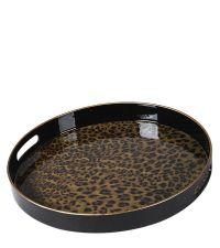 rundes, schwarzes Tablett mit glänzender Innenseite mit Leoparden-Muster, Handgriffen und goldenem Rand