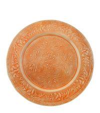 großer Deko-Teller mit floraler Musterung, orange