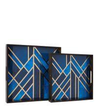 2er-Set Tabletts aus schwarzem Holz & Glas mit geometrischem Muster in kräftigem blau