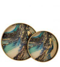2er-Set runde Tabletts aus schwarzem Holz & Glas mit marmorierter Innenseite in türkis & gold