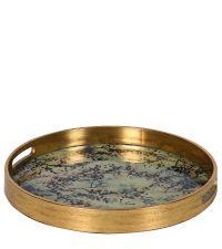 rundes Tablett mit metallischem, goldenen Rahmen & Kirschblüten-Muster