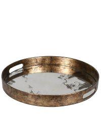 rundes Tablett mit metallischem Rahmen & Spiegeleffekt in marmorierter Optik