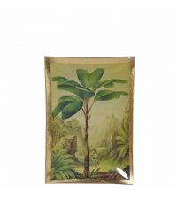 länglicher Dekoteller mit grüner Palmen-Kulisse