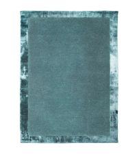 handgefertigter Teppich mit breiter Umrandung, türkis / petrol