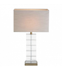 Tischlampe aus klarem Kristallglas & Messing Lampenschirm cremefarben