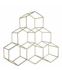 geometrisch geformtes Weinregal, gold