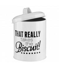 süße Aufbewahrungsdose mit Schriftzug 'that really takes the biscuit', weiß