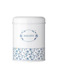 Vorratsdose im Landhausstil, Metalldose Biscuit, weiß mit blauen Blumen