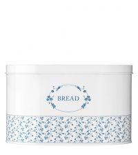 Vorratsdose im Landhausstil, Metalldose 'Bread', Aufbewahrungsbox weiß mit blauen Blumen