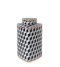 edle Aufbewahrungsdose mit schwarz-weiß Viereck-Muster und goldenen Verzierungen