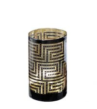 großes Windlicht Colette schwarz & gold mit geometrischem Muster