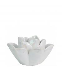 entzückender Teelichthalter in Form einer offenen Blüte in schimmerndem Perlmutt