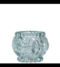 transparentes Teelichtglas mit orientalischer Verzierung, türkis