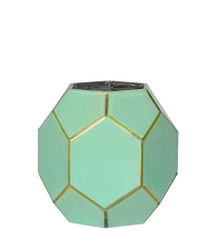 Türkises Windlicht in Hexagon-Form mit goldenen Details, klein