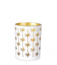 großer Teelichthalter mit Palmen, matt weiß & gold