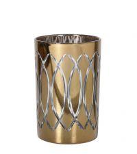goldenes Teelichtglas mit edlen geometrischen Verzierungen