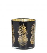 schwarzes Teelichtglas mit goldener Ananas