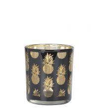kleines, schwarzes Teelichtglas mit goldener Ananas