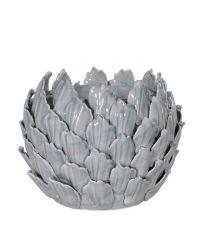 großer grauer Teelichthalter in Blütenform