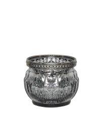 niedriges Teelichtglas mit Silberrand in Antik-Optik