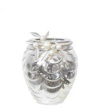 edles Teelichtglas in Antik-Optik mit Perlenverzierung