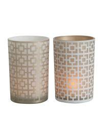 Teelichtglas in weiß und gold mit geometrischem Muster, groß
