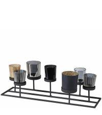 Teelicht-Halter aus schwarzem Metall mit verschiedenen, schwarz-goldenen Teelichtgläsern