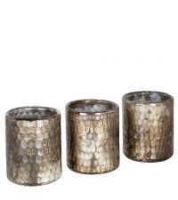 3er Set Teelichhalter aus Glas in marmorierter Optik mit Wabenmuster, taupe