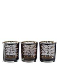 3er Set Teelichhalter aus Glas mit Farn-Muster, grau