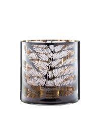 großes Windlicht aus Glas mit Farn-Muster, grau