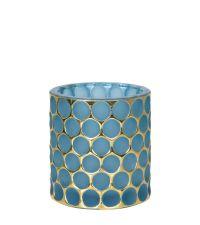 Teelichthalter aus blauem Glas mit goldenem Kreismuster