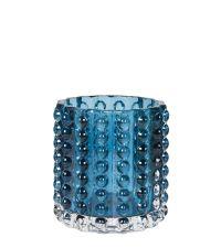 Teelichthalter aus Glas verziert mit erhabenen Punkten, blau