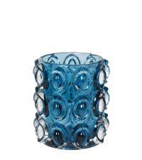 Teelichthalter aus Glas verziert mit erhabenem Kreismuster, blau