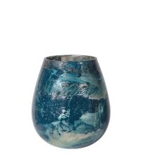 großer Teelichthalter, Windlicht mit Marmorierung, blau