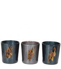 3er-Set Teelichhalter aus schimmerndem Glas in blau & silber