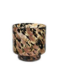gemustertes Windlicht aus getöntem Glas, cognac, schwarz & gold