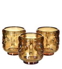 3er-Set Teelichthalter aus getöntem Glas mit Gesichtskontur, cognac